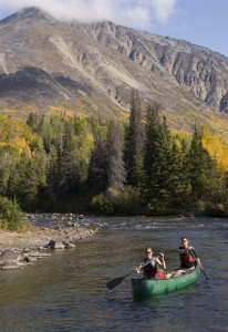 canoeing, Kluane National Park, autumn colours