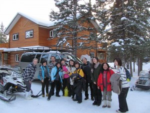 winter group in front of Lodge