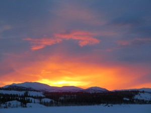 winter sunset on lake laberge
